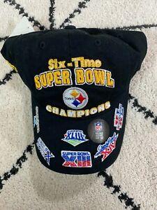 New '47 Brand Pittsburgh Steelers Black Adjustable Hat Cap Six Time Super Bowl