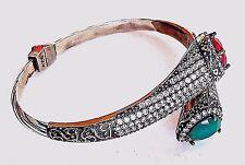 ~WOW! VTG Mogul Designer Couture Collection 925 Silver Cabochon CUFF BRACELET