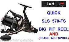 DAM QUICK SLS 570-FS REEL BIG PIT FREE SPOOL BAITFEEDER FOR CARP ROD FISHING