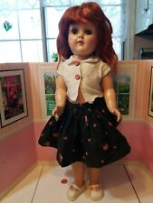 "Vtg pretty Ideal hard plastic rare redhead 19"" p-92 Toni doll"