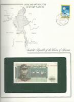 Banknotes of Every Nation Burma 1972 1 Kyat P56 UNC Prefix LJ