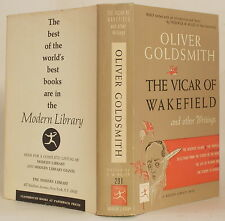 MODERN LIBRARY ~OLIVER GOLDSMITH VICAR OF WAKEFIELD & OTHER WRITINGS Dust Jacket