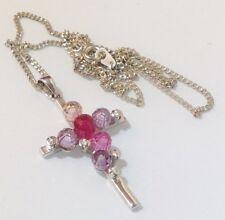 croix déco rhodié argent perles cristal facette couleur cristaux diamant 5353