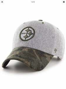 NWT 47 BRAND PITTSBURGH STEELERS WOOL CAMO HITCHNER GRAY CLEAN UP HAT ADJUSTABLE