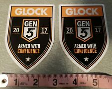 "x2 - Glock GEN 5 ARMED With CONFIDENCE Decal Sticker OEM 2017 4"" T x 2.75""W"
