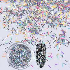 Holographic Silver Stripe Nail Sequins Laser Flakies UV Gel Nail Art Paillette
