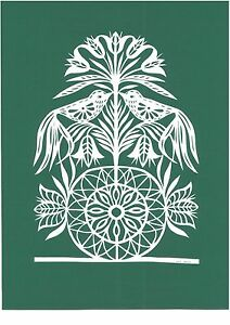 """Original Papercut """"Ornament with Birds"""" by Famous Lithuanian Traditional Artist"""