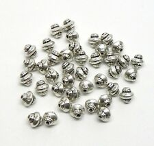 60 Antique Silver Plated Zinc Center Rondelle Top Spacer Beads 6x7mm