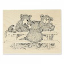 HOUSE MOUSE RUBBER STAMPS PICNIC BEARS GRUFFIES NEW WOOD STAMP