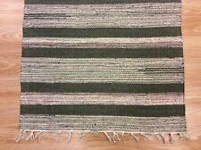 Striped Black Blue Handloomed 100% Cotton Rag RUG Durrie Mat 60x90cm 2x3 50%OF