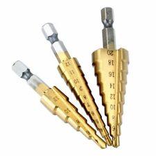 3pcs 4-20/3-12/4-12mm HSS Metric Titanium Metal Hex Step Drill Bit Set