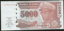 Zaire 5000 Zaires 1995 Pick 68 UNC Low number 0000119