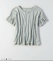 NWT Small AMERICAN EAGLE Turquoise Crop destroyed Ruffle Sleeve Tee Distressed