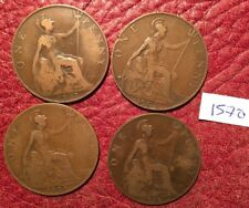 DATE-RUN OF 4  DIFFERENT-DATE EDWARD VII PENNIES 1907-1910 - JOB LOT 1570