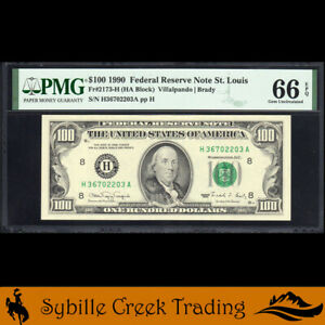 1990 $100 ST LOUIS FEDERAL RESERVE NOTE FRN PMG 66 EPQ Fr 2173-H  702203