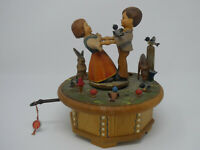 "VINTAGE ANRI WOODEN BOY & GIRL ""SHALL WE DANCE"" THORENS SWISS MUSIC BOX REPAIR"
