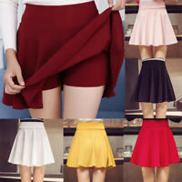 Womens Girls A Line High Waisted Stretch Flared Pleated Plain Skater Mini Skirt