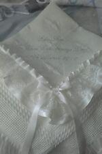 beautiful IVORY baby christening shawl  *PERSONALISED*