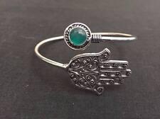 FASHION JEWELRY - Hamza Malachite .925 Sterling Silver Plated Bangle Bracelet