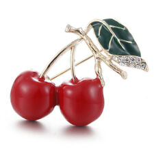 Red Enamel Cherry Metal Brooch Pins Button Crystal Brooches Sweater&Clip/Jewe EV