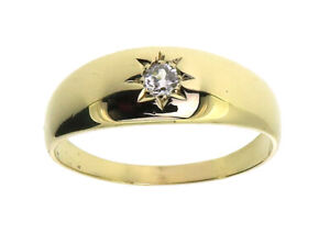 9Carat 9ct yellow gold single stone star set diamond ring size X 1/2 man vintage