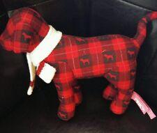 Victoria secret pink dog plush 2007 winter scarf red Plaid black