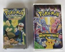 Pokemon Midnight Guardian Silver Clamshell VHS & The First Movie Mewtwo vs Mew