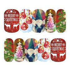 Full Wrap Nail Art Water Decals Stickers Christmas Santa Reindeer Trees (STZ411)