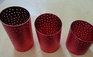 Vikki Smyth Aluminate Votive Candle Decorative Sleeves Lot of (3) Rose