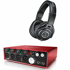 Focusrite Scarlett 18i8 Gen 3 Audio Technica ATHM40X Headphones Recording Bundle