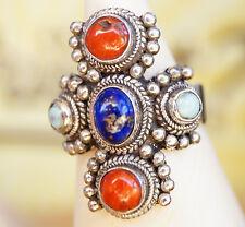 Lang Massiv Silberring 56 Lapis Lazuli Koralle Türkis Rot Handarbeit Ring Silber