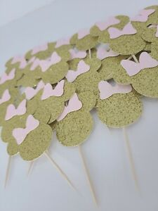 Minnie Mouse cupcake toppers pink & gold party (25 count) birthday