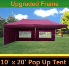 10'x20' Pop Up Canopy Party Tent - Maroon - F Model Upgraded Frame