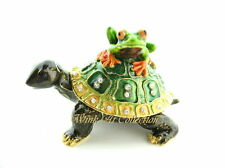 Turtle and Frog Bejeweled Trinket Box