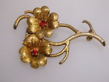 Antique 1890'S Art Nouveau Rich Gold Washed Rhinestone Flower Pin/Brooch!