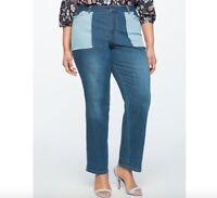 Eloquii Patch Pocket Straight Leg Jeans 4258 Plus Size 18