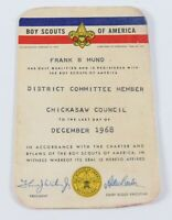 Vintage Chickasaw 1968 District Committee Member Membership Card Boy Scouts BSA