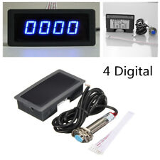 4 Digital Blue LED Tachometer RPM Speed Meter + NPN Hall Proximity Switch Sensor