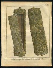 COFFRE SCULPTE DE NOUVELLE ZELANDE gravure Voyage Capitaine COOK James 1778