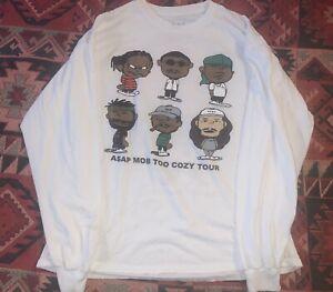 asap MOB too cozy tour shirt white XL RIP ASAP YAMS peanuts cartoon spoof