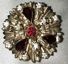 Ruby Red Pear Shape & Round Clear Rhinestones Goldtone Setting Pin Pendant 1960s