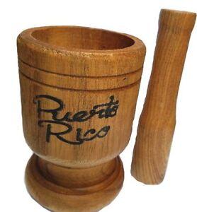 Puerto Rico Medium Size Wood Mortar & Pestle Pylon Pilon Madera - Boricua Rican