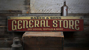 General Store Decor, Custom Store Sign -Distressed Wooden Sign
