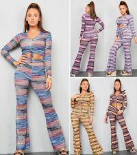 Ladies Women Multicolour Striped Crop Top Wide FLARED Leg Trousers Tracksuit Set