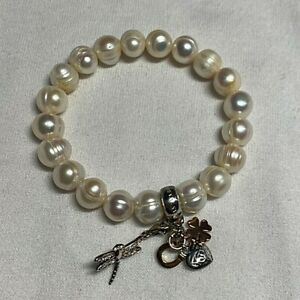 Thomas Sabo Charm Club Sterling Silver 925 Cultured Pearl Bracelet & Charms