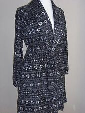 LAURA ASHLEY Women's Soft Plush Black Fairisle Knee Length Tie Robe Sz M NWT