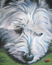 "WEST HIGHLAND TERRIER dog portrait art PRINT of lashepard painting 8x10"" westie"
