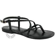 New Womens Braided Strappy Gladiator Thong T Strap Flat Faux Leather Sandals