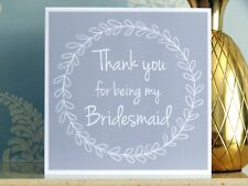 Thank you for being my Bridesmaid card - Grey - Wedding Thankyou Cards UK Made