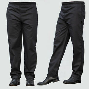 Black Chef Trousers Excellent Quality Elasticated Pants 3 Pockets Black Trousers